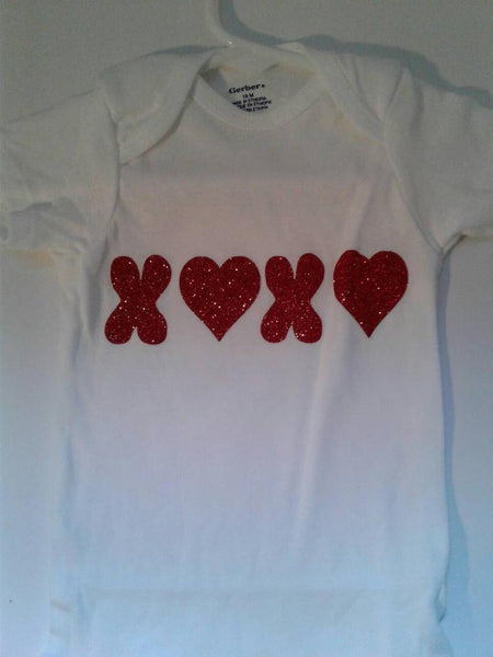 Valentine's XOXO hugs and kisses baby bodysuit