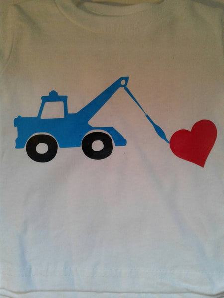 Heart tow truck Valentine's toddler t-shirt