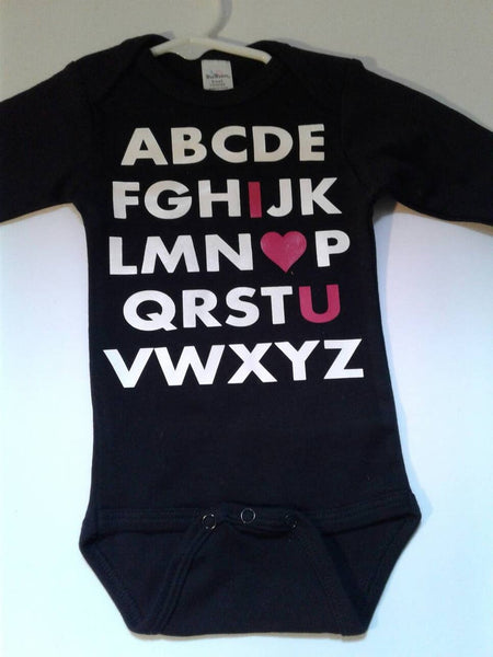 Valentine's ABC I love you baby bodysuit