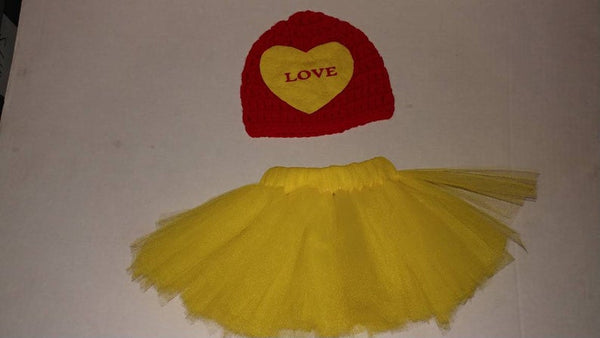 Crochet Valentine's LOVE  sweetheart hat and matching tutu
