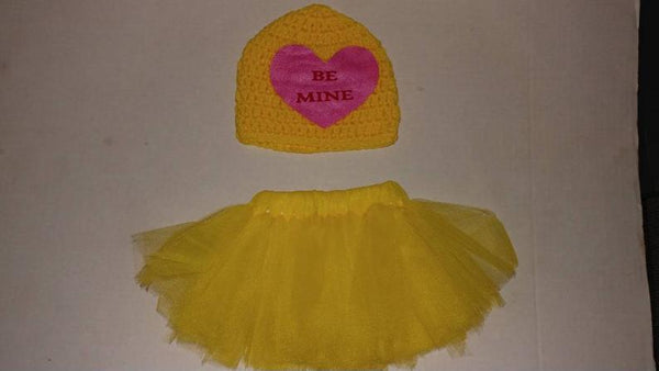 Crochet Valentine's BE MINE sweetheart hat and matching tutu