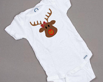 Reindeer face monogram nose onesie for girls
