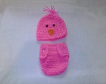 Crochet hot pink chick diaper set