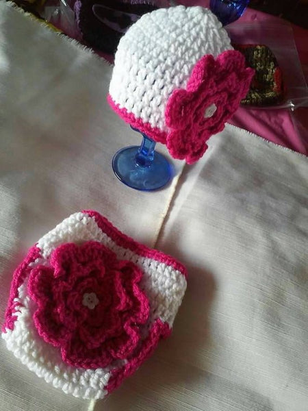 Newborn crochet flower hat and diaper set