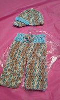 Newborn boy's hat and pants set, light blue camouflage