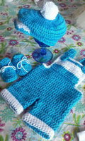 Coverall and newspaper boy hat set, crochet photography prop