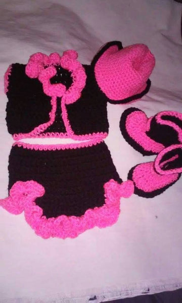 Cowgirl newborn set, cowgirl boots, hat, vest, skirt