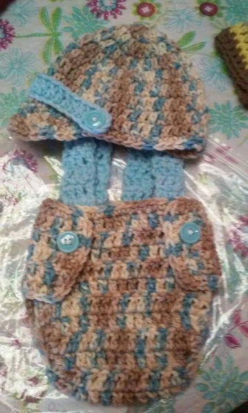 Baby boy light blue camouflage diaper set