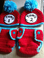 Thing 1 & Thing 2 inspired diaper sets