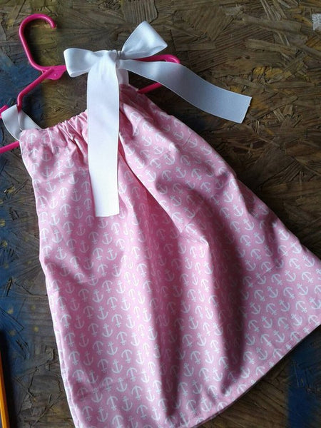 Pink and white anchor pillowcase dress
