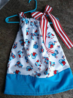 Patriotic owl print pillowcase dress