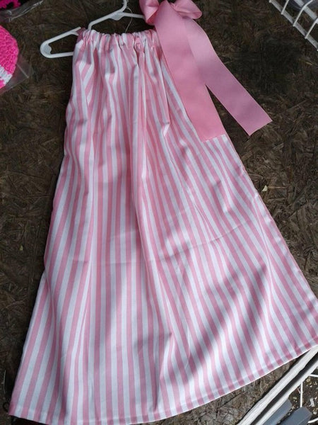 Pink and white stripe pillowcase dress