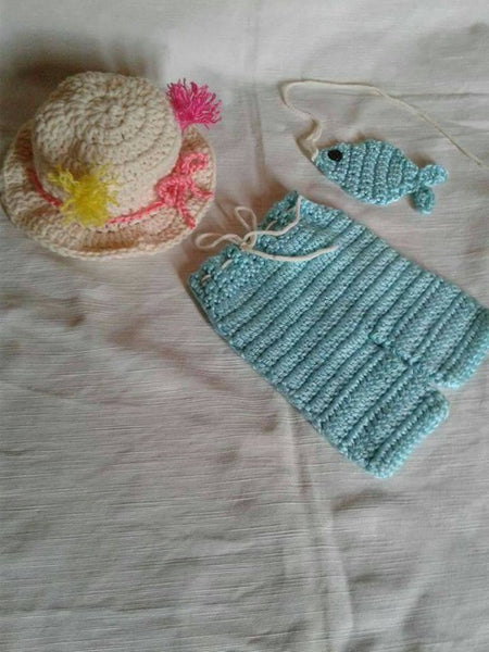Fishing hat, short, newborn set