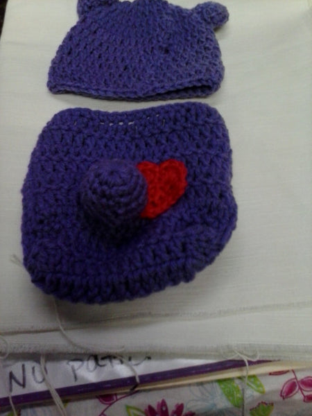 Care bear inspired crochet diaper set, purple bear
