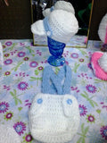 Newborn  boy cap and suspender set, light blue and white