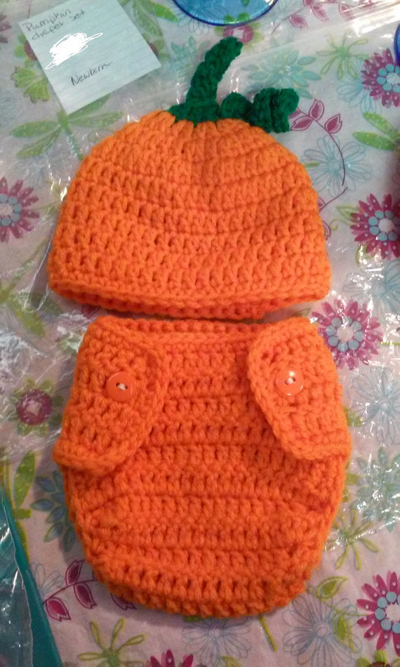 Pumpkin Halloween diaper set
