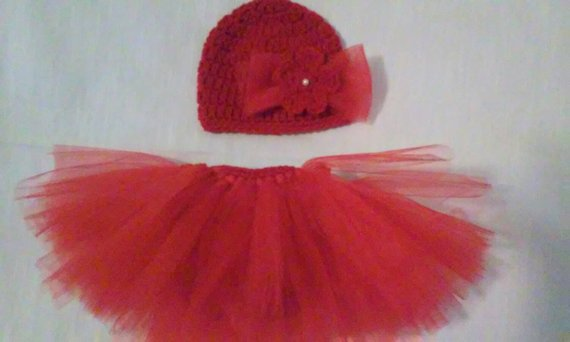 Red tutu crochet diaper set, newborn photography prop