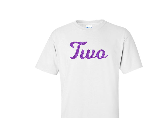 TWO purple glitter design birthday t-shirt