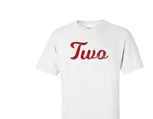 TWO red glitter design birthday t-shirt