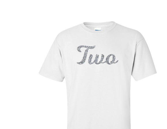 TWO silver glitter design birthday t-shirt
