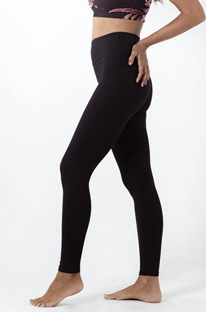 Black high waisted long legging with drawstring in waist