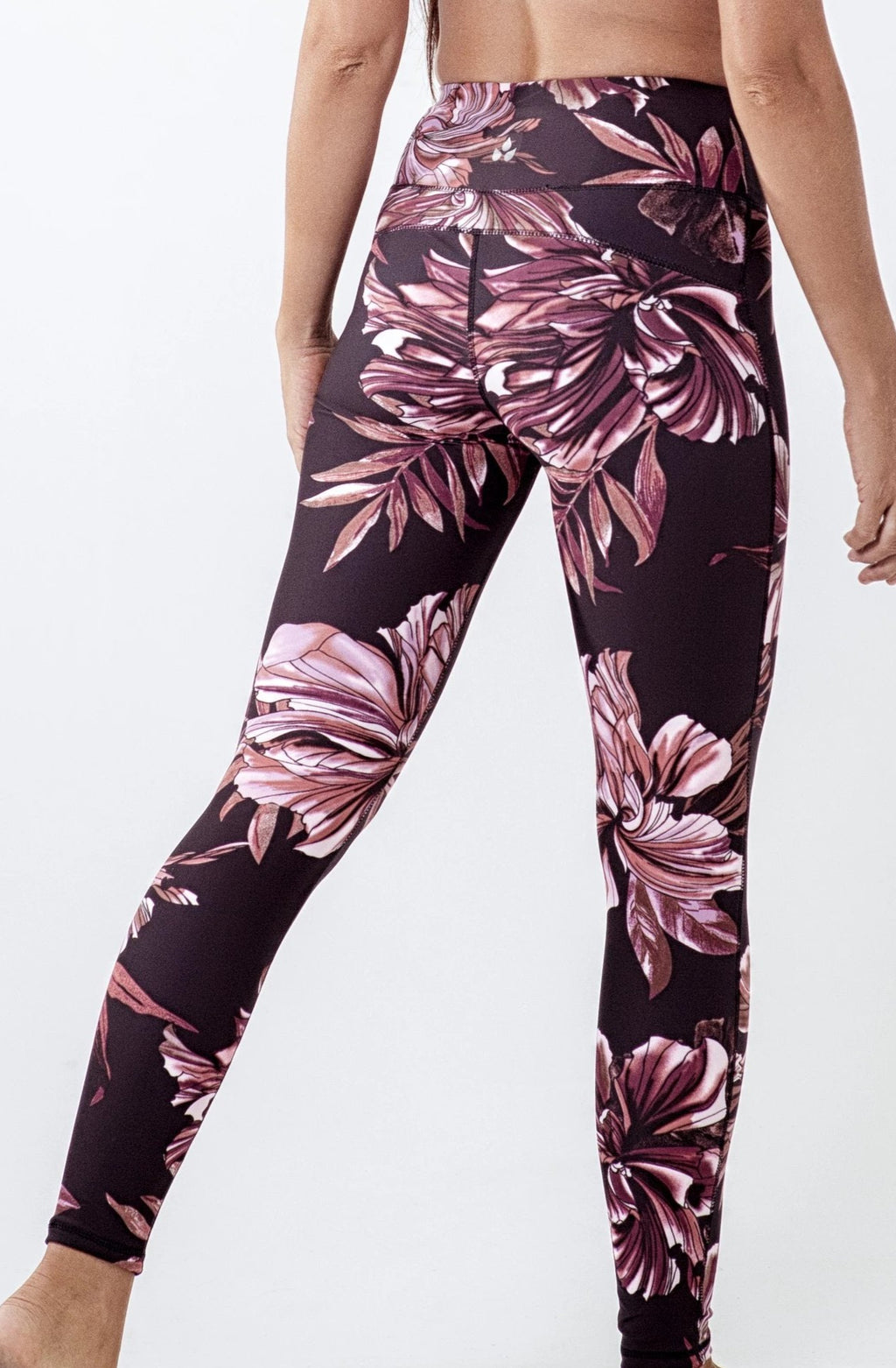 black and burgundy large floral high waisted long legging