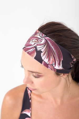 burgundy floral printed wide headband for gym or running