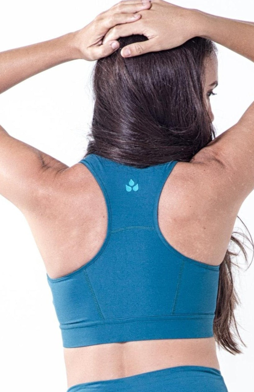 Supportive teal racerback sports bra