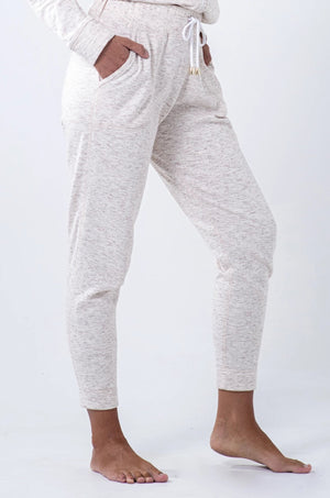 cream melange high-waisted brushed cotton fleece jogger