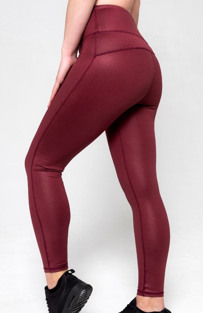 burgundy high shine glossy high waisted leggings 7/8th length with drawstring