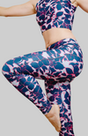 blue and pink floral high waisted long leggings