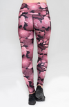 Pink and black floral high waisted long leggings