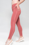blush pink high waisted leggings 7/8th length with drawstring