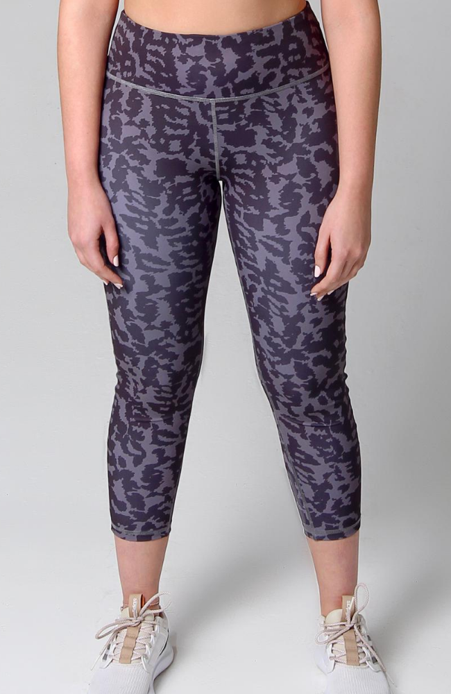 grey and black camo 7/8 length high waisted legging