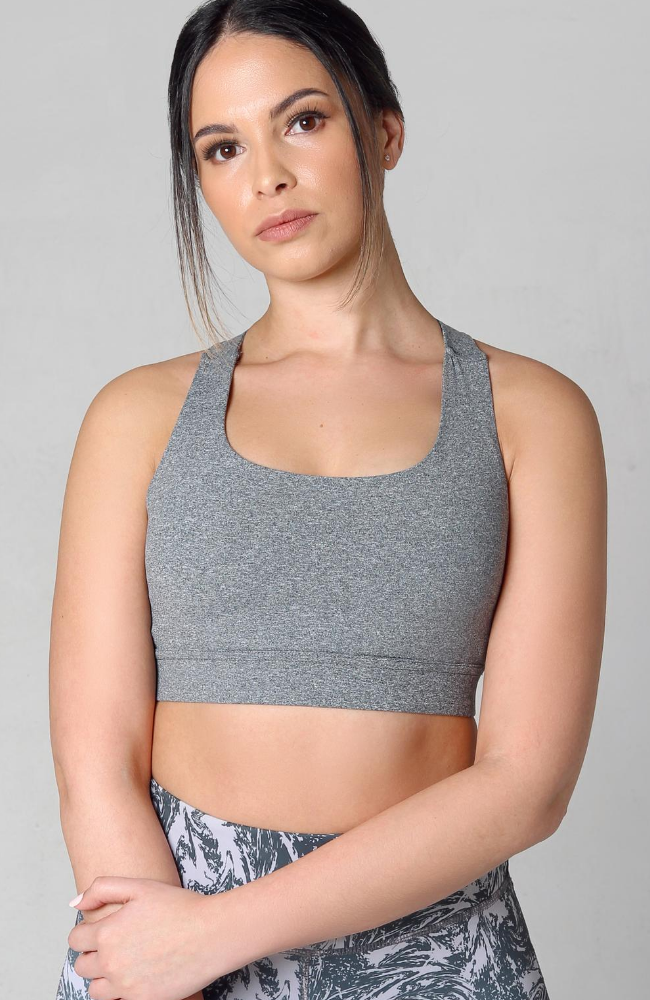 grey melange kriss kross sports bra
