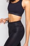 glossy black liquid long leggings with high waist and drawstring