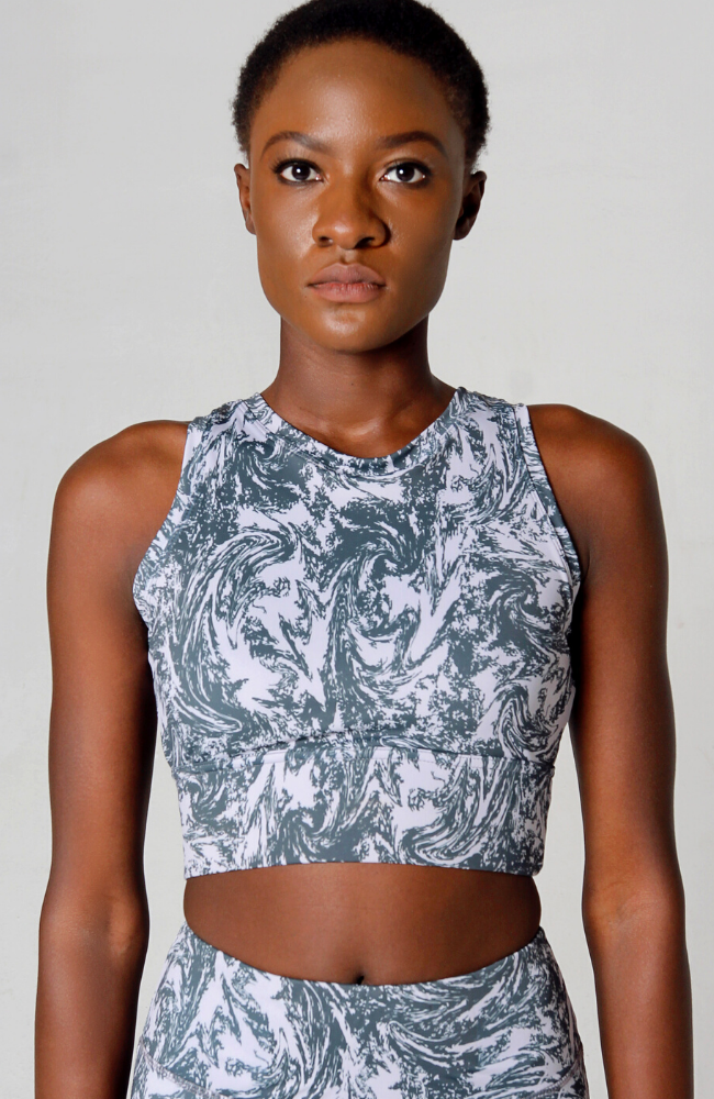 grey swirl crop top sports bra