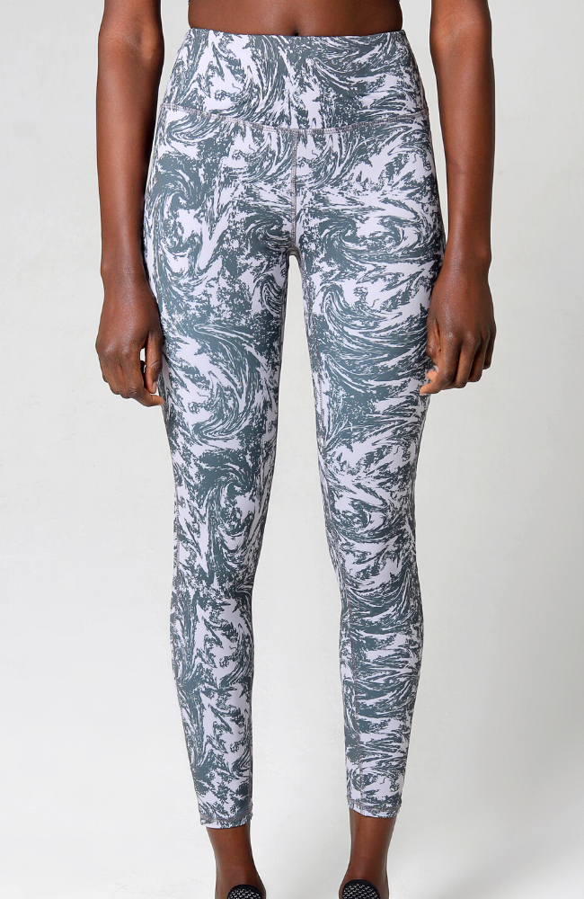 grey swirl long high waisted leggings