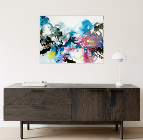 "ORIGINAL PAINTING ""Blue Release"" Abstract Contemporary"