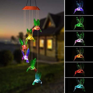 LED Solar Hummingbird Wind Chime
