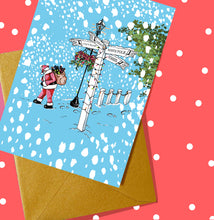 Load image into Gallery viewer, Santa's Directions - Personalised A5 Christmas Card