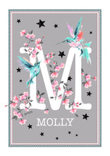 Load image into Gallery viewer, Personalised Hummingbird Blossom Initial Print