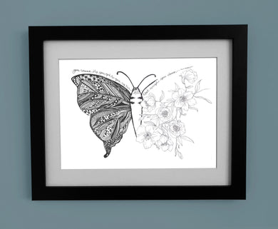 Floral Butterfly with Toni Morrison Quote