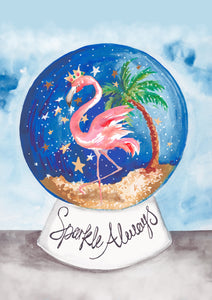 Flamingo Snow Globe 'Sparkle Always'