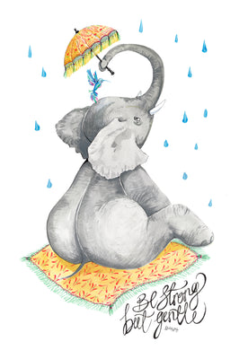 'Be strong, but gentle' - Elephant Holding a parasol over hummingbird Illustration
