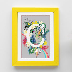 Personalised Rainbow Feather Themed Initial Print