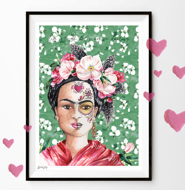 Frida Kahlo Illustration 'life is tough, but so are you darling'
