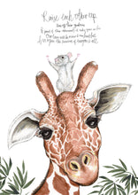 Load image into Gallery viewer, Raise Each Other Up - Giraffe and Mouse Poem Illustration