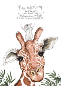Raise Each Other Up - Giraffe and Mouse Poem Illustration