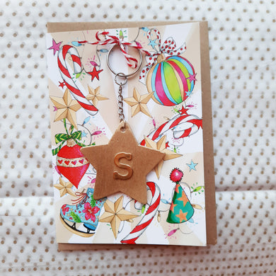 Christmas Card with Gold Initial Wooden Keyring